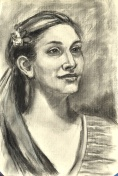 Audrey, charcoal