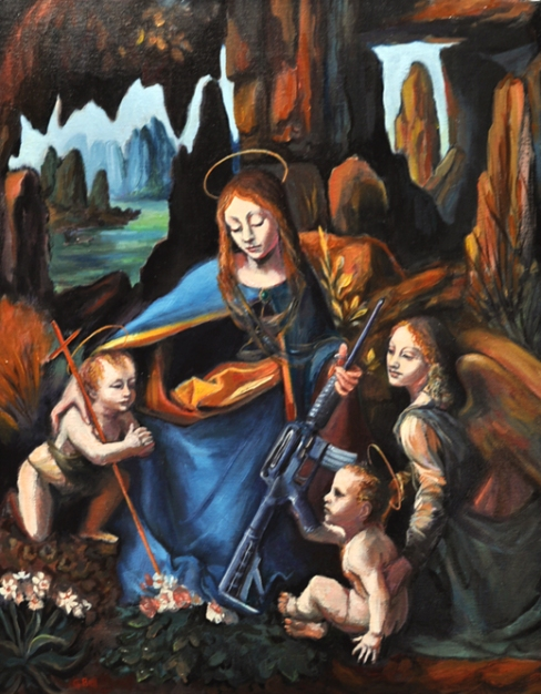 "Madonna of the glocks (and more) 20"" x 16"" oil painting"