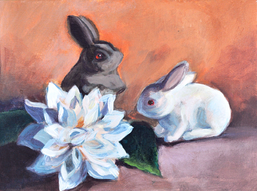 "Easter Bunnies, 9"" x 12"" acrylic on canvas"