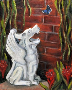 gargoyle with butterfly painting