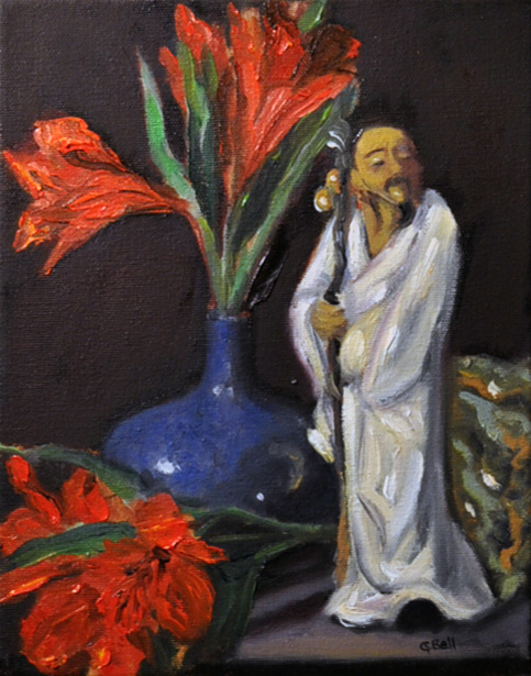 Oriental man with cane and red flowers