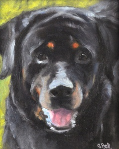Kathy's love, Amos, Rottweiler, painting 125